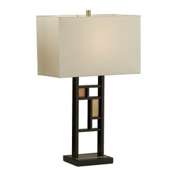 Nova Lighting - Nova Lighting Windows Transitional Table Lamp X-6800101 - Two arms create a frame for the varied windows and panes on this Nova Lighting table lamp. From the Windows Collection, this transitional table lamp features Red and Bronze panes that are accented by the Dark Brown finished frame. A white linen diffuser in a clean rectangular shape completes the look.