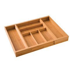 Seville - Seville Bamboo Cutlery Drawer Organizer - Never rifle through a messy drawer again when you use this handy bamboo cutlery drawer organizer. With seven compartments and space for all your silverware and cooking utensils,this organizer is the perfect accessory for any kitchen.