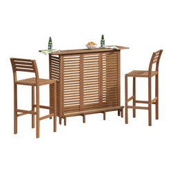 HomeStyles - 3-Pc Outdoor Bar Set - Includes U-shaped bar and two stools. Eco-friendly. Utility drawer. Door that opens to storage area with one adjustable shelf. Open storage area with two adjustable shelves. Traditional slat design. Durable and natural water resistance. Arc shaped back legs. Contoured seat. Imparts slightly modern touch. Made from shorea wood. Eucalyptus finish. Made in Indonesia. Seat Height: 29 in.. Barstool: 16.5 in. W x 17.75 in. D x 42 in. H. Bar: 52.5 in. W x 21 in. D x 43.5 in. H. Cabinet Assembly Instructions. Stool Assembly InstructionsCreate an island oasis in your own backyard with Home Styles 3PC montego bay bar set. This bar cabinet is designed to provide endless hours of outdoor entertainment use. Bar stool is designed to provide endless hours of outdoor entertainment use.