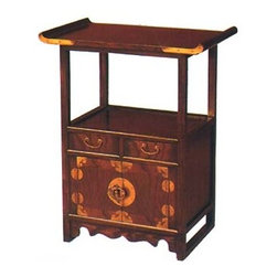 "28""H Korean Style Curio End Table - This 25"" wide Korean elmwood telephone table' is made of solid elmwood. Not veneer like many of our competitors. Dove tail construction and hand rubbed lacquers make for a water resistant finish. Made in China this cabinet has two doors and 2- drawers with solid brass hardware. You will find this to be a perfect end table in any contemporary, traditional or cottage setting. Use as a curio, night stand, or book case. Elegant Asian lines make for a classic yet modern look."
