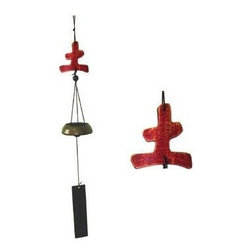 Oriental Furniture - 5 Elements Wind Chimes - Earth - This interesting variation of a common wind chime has a cast brass bell and features a carved wooden symbol as the yoke. The symbol, earth for reliability and stability, is one of the five elements of Feng Shui.