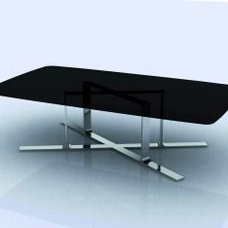 Custom Black Stainless Steel Frame Modern Squre Coffee Tables with Crossed Legs