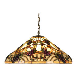 "Meyda Tiffany - Meyda Tiffany Pendants Pendant Lighting Fixture - Shown in picture: Jeweled Grape Pendant; Radiant Concord Purple Jewels - Vineyard Green Leaves And Glistening Dew Kissed Bark Brown Vines Wrap Around A Golden Sunshine Banded Stained Glass Shade. Bring Sunny Vineyards To Your Own Home With This Lovely Meyda Tiffany Original Pendant. The Coordinating Hardware Is Finished In A Warm Mahogany Bronze.; Smallest height shown - expandable from 14""-49""."