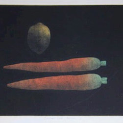 Tomoe Yokoi, Carrots and Lemon, Mezzotint - Artist:  Tomoe Yokoi, Japanese (1942 - )