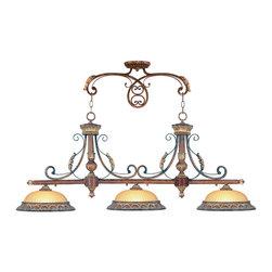 Livex Lighting - Livex Lighting 8584-63 Island - Glass Type/Shade Type: Rustic Art Glass