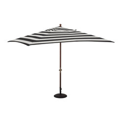 Sunbrella Rectangular Umbrella, Awning Stripe, Black