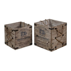 """Grace Feyock - Grace Feyock Bouchard Transitional Crate X-28791 - Lightly stained, rustic solid fir wood with wrought iron metal and hemp rope details. Sizes: Small (14"""" x 14"""" x 14""""), Large (16"""" x 16"""" x 16"""")."""
