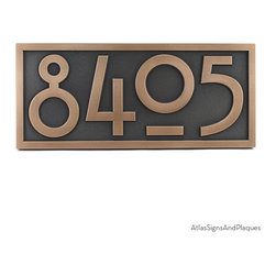 """Stickley Numbers ONLY! 16"""" x 7"""" in Bronze Patina - Numbers Only! Our very popular Stickley plaque reduced to just the numbers. Big, bold, and easy to read. The Rennie Mackintosh font makes this a super fit for Arts & Crafts or Shaker styles."""