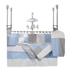Glenna Jean - Starlight Baby Crib Bedding Set - The Starlight Baby Crib Bedding Set by Glenna Jean combines premium grade designer fabrics having high thread  counts.  Cool blue and white are offset by warm gray and metallic  silver.  Fabrics include woven blue gingham, gray cotton embroidered  with a diamond motif, soft white velvet, silver embroidered stars and  sheer metallic pinstripes.  Bumper ties are made from silver ribbon.   Cord and bumper are trimmed with woven silver cord.  All of the silver  accents make the star embroidery fabric come to life.  White quilt back  is super soft for added comfort to baby.