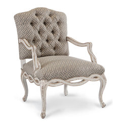 Madison Occasional Chair - Old World Silver - The sinuously-carved apron of the Madison Occasional Chair flows naturally into its cabriole legs, highlighting the crafted beauty of the traditional woodwork that makes this armchair so impressive and grand. Slightly camel-backed, the comfortable upholstered chair matches its soft helix design in the carving of the arms for a unified richness.