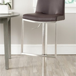 Safavieh - Safavieh Ember Brown Barstool - Borrowing from the advanced technology of luxury car makers,Safavieh upholsters the Ember barstool with brown perforated PU that keeps seats cooler.