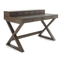 Greydon Desk - Lovely grey-toned oak veneer and rubberwood desk lays out a broad, spacious work surface, banked with a raised row of drawers to store office sundries. X-base legs add interest while creating lots of legroom. Antiqued bronze hardware adds warm accent.