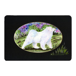 Caroline's Treasures - Samoyed Kitchen or Bath Mat 20 x 30 - Kitchen or Bath Comfort Floor Mat This mat is 20 inch by 30 inch. Comfort Mat / Carpet / Rug that is Made and Printed in the USA. A foam cushion is attached to the bottom of the mat for comfort when standing. The mat has been permanently dyed for moderate traffic. Durable and fade resistant. The back of the mat is rubber backed to keep the mat from slipping on a smooth floor. Use pressure and water from garden hose or power washer to clean the mat. Vacuuming only with the hard wood floor setting, as to not pull up the knap of the felt. Avoid soap or cleaner that produces suds when cleaning. It will be difficult to get the suds out of the mat.