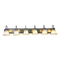 "AF Lighting - AF Lighting 6-Light Vanity 48"" Fixture - Brushed Nickel & Alabaster Glass Shade - This is brand new vanity fixture from AF Lighting. Brighten the décor of your bathroom with this fashionably functional six-light vanity fixture. With a brushed nickel finish, alabaster glass globes, and a decorative backplate, this vanity fixture will become the focal point of your bathroom. Uses (6) 100 W  incandescent medium base bulbs (not included). Fixture measures 48""W x 8""H x 9""E. This vanity light retails for $345.51."