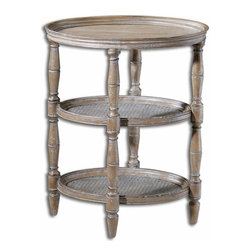 Uttermost - Uttermost Round Kendellen Accent Table in Antique - Hand-turned Hardwood with Woven Cane Shelves in Natural, Weathered Finish with Burnished Edges and Light Antiquing Glaze.