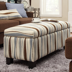 Inspire Q - INSPIRE Q Sauganash Vertical Wavy Stripe Lift Top Storage Bench - Add a fun and practical touch to your living space with this fabric storage bench ottoman. With its distinctive wavy design,this bench will look at home in any contemporary decor. A lift-top lid provides easy access to an interior storage space.