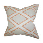 """The Pillow Collection - Alaric Geometric Pillow Gray Coral 18"""" x 18"""" - A lovely addition to your interiors this accent pillow lends a new dimension. Featuring a geometric pattern in shades of gray, white and orange, this toss pillow coordinates well with other colors and patterns. Constructed with 100% soft linen material, this 18"""" pillow is made in the USA. Hidden zipper closure for easy cover removal.  Knife edge finish on all four sides.  Reversible pillow with the same fabric on the back side.  Spot cleaning suggested."""