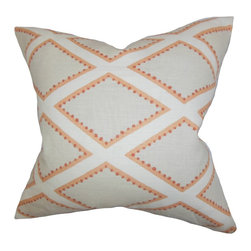 """The Pillow Collection - Alaric Geometric Pillow Gray Coral - A lovely addition to your interiors this accent pillow lends a new dimension. Featuring a geometric pattern in shades of gray, white and orange, this toss pillow coordinates well with other colors and patterns. Constructed with 100% soft linen material, this 18"""" pillow is made in the USA. Hidden zipper closure for easy cover removal.  Knife edge finish on all four sides.  Reversible pillow with the same fabric on the back side.  Spot cleaning suggested."""