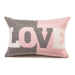 "Rani Arabella - Rani Arabella Azure Love Cashmere Blend Pillow, Pink - Add a fun, bold print to your living or dining room using the Love Cashmere Blend Pillow. Made from 70% cashmere and 30% wool, this pillow features the word ""Love"" in large type against light pink and gray color blocking. Pair it with soft, pastel colors for a cohesive, but eye-catching look. Includes a 50% down and 50% polyester insert. Dry clean only. Made in Italy."