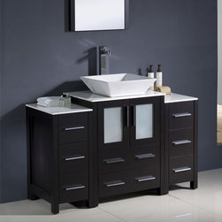 Fresca - Fresca Torino Espresso Modern Bathroom Vanity & 2 Side Cabinets & Sink - Featuring an Espresso finish and frosted glass panels, the Torino 48 vanity from Fresca is perfect for adding luxury to any bathroom. Supplied with the ceramic vessel sink, the modern vanity along with the two side cabinets incorporates plenty of storage space for toiletries and bathroom linen. Torino Bathroom Vanity Details:   Dimensions: Vanity 48W x 18 1/8D x 35 5/8H Side Cabinet dimensions: W 12 x D 17.75 x H 28.13 Plywood with veneer, ceramic vessel sink Vessel faucet mount Finish: Espresso Includes two side cabinets Please note: faucet not included