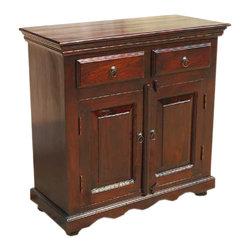 Solid Wood Handmade Storage Buffet 2-Door 2-Drawer Sideboard Cabinet - Keep your home organized and elegant with the Lincoln Solid Wood Handmade Storage Buffet 2-Door 2-Drawer Sideboard Cabinet. This mahogany stained storage cupboard is made from solid Indian Rosewood. The handmade cabinet hand carved details and a traditional design and can be used as a hall table, additional dining room storage, office cabinet or TV stand.
