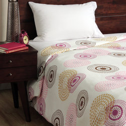 None - Cocalo Iris Full-size Duvet Cover - This bright duvet cover is composed of soft machine washable 100-percent cotton. The beautiful pattern of circles adds a charming addition to the bedroom.