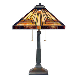 Quoizel - Quoizel Vintage Bronze Lamps - SKU: TF885T - This handcrafted Tiffany style collection illuminates your home with warm shades of amber, bisque and earthy green, arranged in a clean and simple geometric pattern reminiscent of the works of Frank Lloyd Wright. The sturdy base complements the Arts & Crafts style, and is finished in a Vintage Bronze.