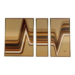 """Pre-owned Mid-Century Triptych Painting by Letterman - Mid-century modern three panel (triptych) oil painting. Geometric design with neutral tones of brown, beige and burnt orange. Simple walnut wood frame is trimmed with metallic gold. Arrange the panels as you please to customize the look. Signed """"Letterman."""" We have another Letterman painting that will pair beautifully with the piece (sold separately).     Dimensions detail: 31 1/8"""" Wide panel A, 13.25"""" Wide panel B, 21 1/8"""" panel C x 1.25"""" Deep x 41"""" High"""