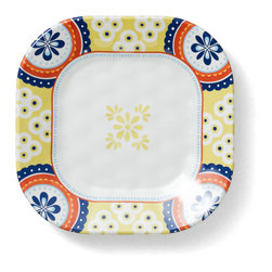 Q Squared NYC - Montecito Blue Appetizer Plate Set/6 - Transport your dining table to historical Montecito with the beautiful, vibrant colors of this collection, inspired by the intricate tiles and textures of the romantic city.