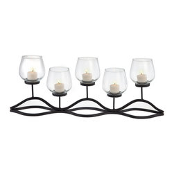Danya B - Wavy Iron and Glass Hurricane Candle Holder - A splendidly unique lighting accent, our 5-hurricane candelabrum combines rustic aesthetics with modern design.  Handcrafted of iron and glass, this candle holder holds 5 mini pillar or votive candles. With removable glass hurricanes, it is perfect for any dining table, fireplace mantel or side table.