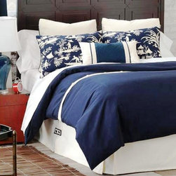Luxury Bedding Collections 2 - Our designers have taken inspiration from classic interiors of warm navy and cream hues to create Presley. In an understated Asian theme, Presley is a tailored yet casual bed set that combines solid cotton fabrics with a beautiful scenic toile. The duvet cover and bed skirt are contrasted by a clean finish of button closures. Bed-sets start at: $675.00