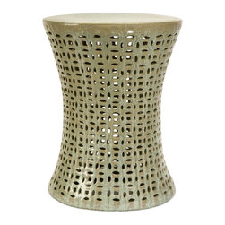 Taupe Grey Cutwork Garden Stool - *Add a zen-like feeling to any outdoor garden or patio with this ornate garden stool with cutwork design.