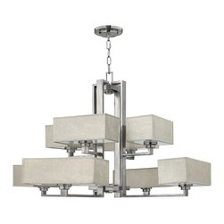 Frederick Ramond - Fredrick Ramond Quattro 2 Tier 8-Light Chandelier - Quattro is masculine yet elegant  with generously scaled metalwork in a Brushed Nickel finish. The rectangular  captured hardback harvest shades reinforce the architectural elements of this modern collection.