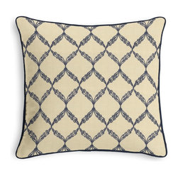 Blue Embroidered Trellis Corded Throw Pillow - Black and white photos, Louis XIV chairs, crown molding: classic is always classy. So it is with this long-time decorator's favorite: the Corded Throw Pillow.  We love it in this blue trellis crewel embroidered on natural cotton for a look that's classic with a touch of casual.