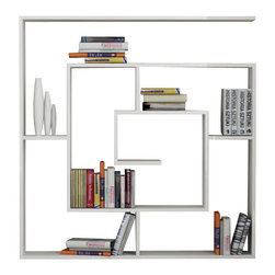 Decortie - LABIRENT BOOKCASE, White - Simple and stylish, the Decortie Labirent Book Shelf would look stunning in a contemporary home. Angular in design, this maze like piece is the perfect way to display your books, art and object. Featuring numerous sections it is both sophisticated and practical.