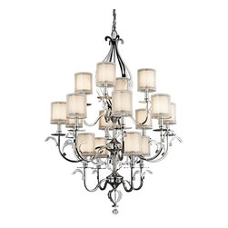 KICHLER - KICHLER Jardine Transitional 16-Light Chandelier X-HC29324 - This chandelier boasts an elegant and sophisticated style with its striking design. The Kichler Lighting Jardine Transitional chandelier features a grand steel frame design with polished chrome finish for a sleek, stunning look. The opal diffuser creates a beautiful soft glow with the help of shear metallic hardback shades.
