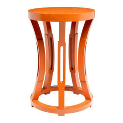 Hourglass Stool/Side Table, Orange - I would love to add a pop of orange to my office with this small side table.
