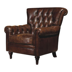Moe's Home Collection - Moe's Home New Castle Club Chair in Brown Leather - Traditional style. Tufted back and inner side of arms