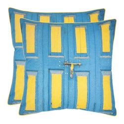 Safavieh - Nador Accent Pillow  - 18x18 - Blue,Yellow - Nador Accent Pillow  - 18x18 - Blue,Yellow