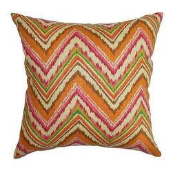 The Pillow Collection - Dayana Orange and Pink18 x 18 Zigzag Throw Pillow - - Pillows have hidden zippers for easy removal and cleaning  - Reversible pillow with same fabric on both sides  - Comes standard with a 5/95 feather blend pillow insert  - All four sides have a clean knife-edge finish  - Pillow insert is 19 x 19 to ensure a tight and generous fit  - Cover and insert made in the USA  - Spot clean and Dry cleaning recommended  - Fill Material: 5/95 down feather blend The Pillow Collection - P18-D-42326-SPICE-C100