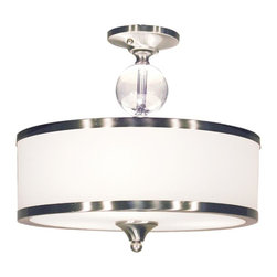 Three Light Brushed Nickel White Glass Drum Shade Semi-Flush Mount - For a cutting edge modern fixture, look no further than this semi-flush. A milk white shade is complimented with brushed nickel bands, surrounding a crystal sphere. This semi-flush is sure to be great addition to any contemporary space.