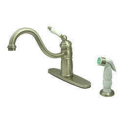 Kingston Brass - Single Handle Kitchen Faucet With Non-Metallic Sprayer - Victorian style Single Handle Deck Mount,2 or 4 hole Sink application,includes Non-Metallic (ABS) Side Spray,Faucet is Fabricated from solid brass material for durability and reliability, Premium color finish resist tarnishing and corrosion, 360 degree turn swivel spout, Stainless Steel ball, Joystick type control mechanism, Flexible supply lines with 1/2in. - 14 NPS male threaded inlets, 2.2 GPM (8.3 LPM) Max at 60 PSI, Integrated removable aerator, 9-1/8in. spout reach from faucet body, 9-1/4in. overall height, Ten Year Limited Warranty to the original consumer to be free from defects in material and finish.