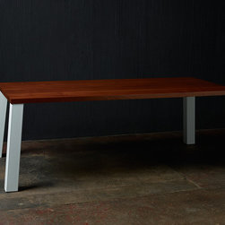 """The 8th° Corner Dining Table - Sleek, solid, modern and completely customizable. 84"""" x 42"""" table with 1 3/4"""" wood top and powder coated steel legs. Top available in a dozen species including live edge slabs. Legs available in stainless steel, aluminum, mill scale, blackened, polished, plated or any color powder coat."""