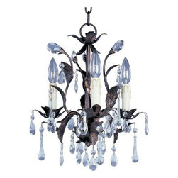 Maxim Lighting - Maxim Lighting 82OI Grove 3-Light Chandelier in Oil Rubbed Bronze - The leaves of this grove in Oil Rubbed Bronze are accented with a crown of crystal drops and a bloom of faux wax candles.