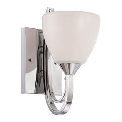 Designers Fountain - Cortona Chrome Wall Sconce - - Finish: Chrome  - Glass/Shade: Gloss White Opal Style  - Bulb Style: Incandescent  - Large sweeping rectangular shape arms with double draping arm detail adds dimension and surface for the effect of the finish. Designers Fountain - 84601-CH