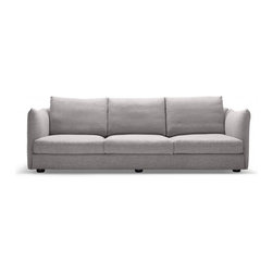 Harper - Four-seat Charcoal fabric sofa - With its clean lines and subtle flourishes, Harper casts a remarkably adaptable profile. This sofa comes from the lines of our premium factory partner, and Harper is constructed of our highest-grade materials by our most superior craftsmen.The sofa's high, contoured arms (ideal for sitting up while stretching out) and faintly concave back combine to create a knowing design with a highly functional form - completely at ease in a swath of interior styles.Harper's cushions are high-resilience foam topped with down - meeting our design ethos of comfort, function, and style. The sofa comes in an elegant, neutral-toned linen-blend fabric - soft to the touch but durable.  The Charcoal color is a gorgeous dark grey almost black color.Harper is a wonderful piece - particularly if you're looking to break from the mold of average sofa design. Dimensions: 102*38*35