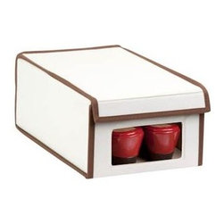 Honey Can Do - Natural Canvas Small Window Shoe Box - Clear view windows. Quickly identify items inside. Drop down front panel. Great for accessing contents when stacked. Folds flat. Space-saving design when not in use. 13 in. L x 8 in. W x 5.25 in. H (0.9 lbs.)Honey-Can-Do SFT-02064 Shoe Storage Box, Natural/Brown. Throw out those old retail shoe boxes and store your shoes in style. The clear view window lets you easily see the contents while the fold down lid simplifies access. Protective cloth interior safeguards against scuffs and scratches. Stackable by design, the 8x13x5 inch box is a great organization tool when combined with additional boxes (not included). In classic off-white with brown accents, its an instant upgrade to any closet. Made of polyester and cotton canvas.