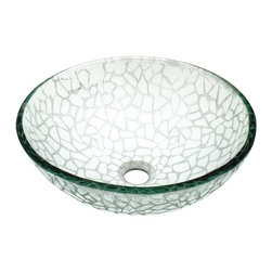 Renovators Supply - Vessel Sinks Frosted Glass Cobblestone Textured Vessel Sink - Glass Vessel Sinks: Textured Frosted Tempered glass sinks are five times stronger than glass, 1/2 inch thick, withstand up to 350 F degrees,  can resist moderate to high degrees of impact & are stain��_��__��_��__��_��__proof. Ready to install this package includes FREE 100% solid brass chrome-plated pop-up drain, FREE machined 100% solid brass chrome-plated mounting ring & silicone gasket. Measures 16 1/2 in. dia. x 6 in. deep x 1/2 in. thick.