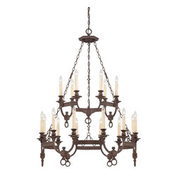 Bastille 18 Light Chandelier - Elegant simplicity defines this collection. The Heritage Bronze finish is rich and relaxed and the Soft Ivory Beeswax Candles create a glow that will warm your home. Weight: 40. 92 lbsFinish: Heritage BronzeBulb Wattage: 40Number of Bulbs: 18Candle Covers: Ivory BeeswaxType of Bulb: CNumber of Arms: 18Bulbs Included: NoSafety Rating: UL, CULVoltage: 120