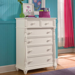 Lea Industries - Hannah 6 Drawer Chest Multicolor - 147-151 - Shop for Dressers from Hayneedle.com! Perfect for young girls to tweens the Hannah 6 Drawer Chest provides a charming storage solution for your daughter s room. This durable multi-drawer chest is designed with soft curves shaped pilasters bun feet and a crisp clean white finish for a casual country style that complements a wide variety of decor. This chest features six spacious drawers for convenient storage of clothing and other personal belongings. Held together with strong English dovetail construction drawers operate on smooth metal drawer guides with steel ball bearings. Wood knob hardware accentuates the drawers while the smooth sturdy top is ideal for displaying decorative items photos jewelry boxes and more.About Lea IndustriesLea Industries is a leading manufacturer of youth furniture. Each piece is crafted from fine hardwoods veneers wood products and simulated wood to ensure both durable and quality furniture that will stand up to years of wear and tear. Lea's youth furniture offers a wide assortment of styles for both girls and boys with a broad selection of specialized functional designs including four-poster canopy beds bunk beds storage beds dual sleep beds student desks and learning centers for youth computing. Lea's wide variety of styles ranges from 18th century and country to casual contemporary. Lea traces its origins back to 1869. Their headquarters is located in Greensboro N.C.